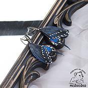 Украшения handmade. Livemaster - original item Butterfly earrings Papilio polyxenes-3 leather. Handmade.