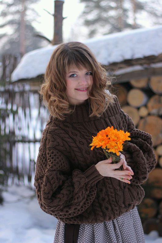 Кофты и свитера ручной работы. Ярмарка Мастеров - ручная работа. Купить Свитер в стиле Ruban. Handmade. Коричневый, коричневый свитер