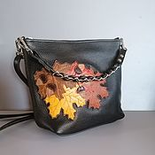 Сумки и аксессуары handmade. Livemaster - original item Women`s leather shoulder bag hobo small Autumn black. Handmade.
