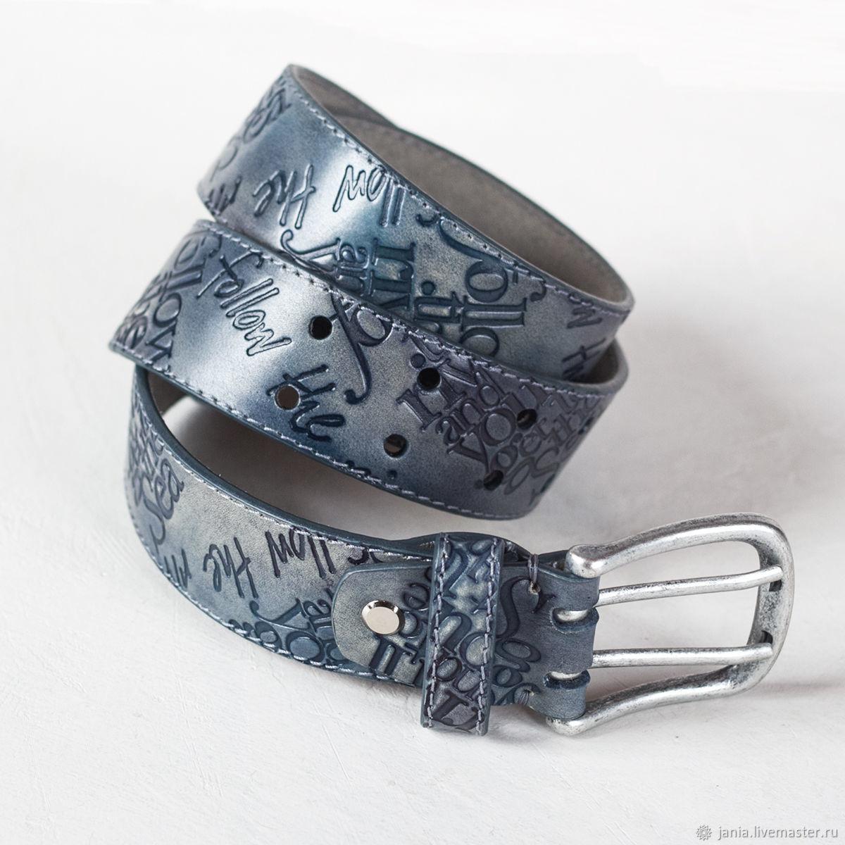 Пояса: Мужской ремень из кожи Серо-голубой, Ремни, Иваново, Фото №1