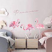 Элементы интерьера ручной работы. Ярмарка Мастеров - ручная работа Наклейка Розовый Фламинго. Handmade.