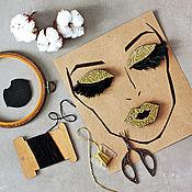 Украшения handmade. Livemaster - original item A set of three brooches: Golden eyes and lips. Handmade.