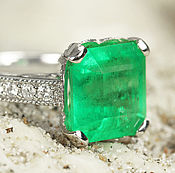 Украшения handmade. Livemaster - original item 7.68tcw Solitaire Colombian Emerald & Diamond Engagement Ring 14K,. Handmade.