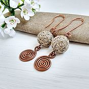 Украшения handmade. Livemaster - original item Earrings Beads, Natural Copper Wire Long Trendy Style Boho. Handmade.