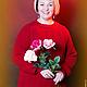 """Кофты и свитера ручной работы. Ярмарка Мастеров - ручная работа. Купить Свитер """"красная роза"""". Handmade. Ярко-красный, зима"""