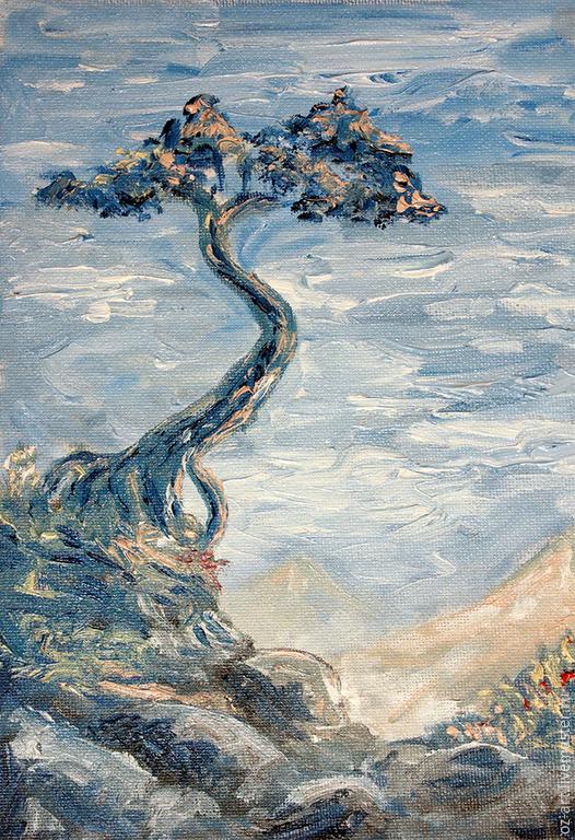 """Пейзаж ручной работы. Ярмарка Мастеров - ручная работа. Купить """"Одинокое дерево"""", масло, холст 18х24. Handmade. Голубой, дерево"""