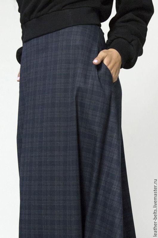 Юбки ручной работы. Ярмарка Мастеров - ручная работа. Купить Теплая длинная юбка. Handmade. Тёмно-синий, пошив на заказ