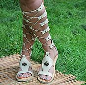 Обувь ручной работы handmade. Livemaster - original item discount! Gladiator leather lace-up Without membrane Baked milk. Handmade.