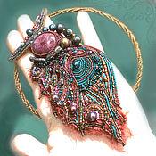 Украшения handmade. Livemaster - original item Necklace butterfly Wing Peacock Large pink tourmaline Burgundy pearl. Handmade.