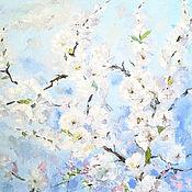 Картины ручной работы. Ярмарка Мастеров - ручная работа Картина с нежными цветами Абрикосовый цвет. Handmade.