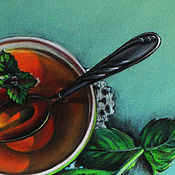 Картины и панно ручной работы. Ярмарка Мастеров - ручная работа Картина пастелью Чай с мятой. Handmade.