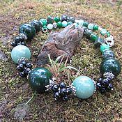 Украшения handmade. Livemaster - original item Green necklace made of jade and agate, decoration made of natural stones. Handmade.