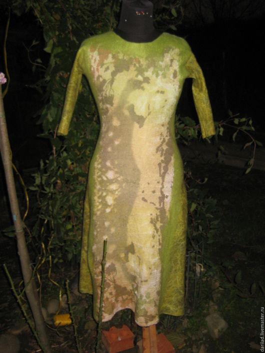 """Платья ручной работы. Ярмарка Мастеров - ручная работа. Купить Платье """"Зеленое настроение"""". Handmade. Разноцветный, шерстяное платье"""
