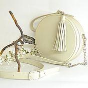 Сумки и аксессуары handmade. Livemaster - original item Round genuine leather bag ivory color. Handmade.