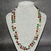 Работы для детей, handmade. Livemaster - original item Long necklace with natural stones: carnelian, amethyst, jade.... Handmade.