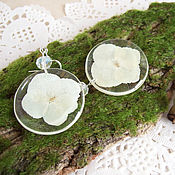 Украшения handmade. Livemaster - original item Transparent Earrings with Real White Hydrangea Flowers Eco Jewelry. Handmade.