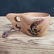 Посуда handmade. Livemaster - original item Kuksa mug made of beech with pyrography A gift to a fisherman Finnish kuksa Mug. Handmade.
