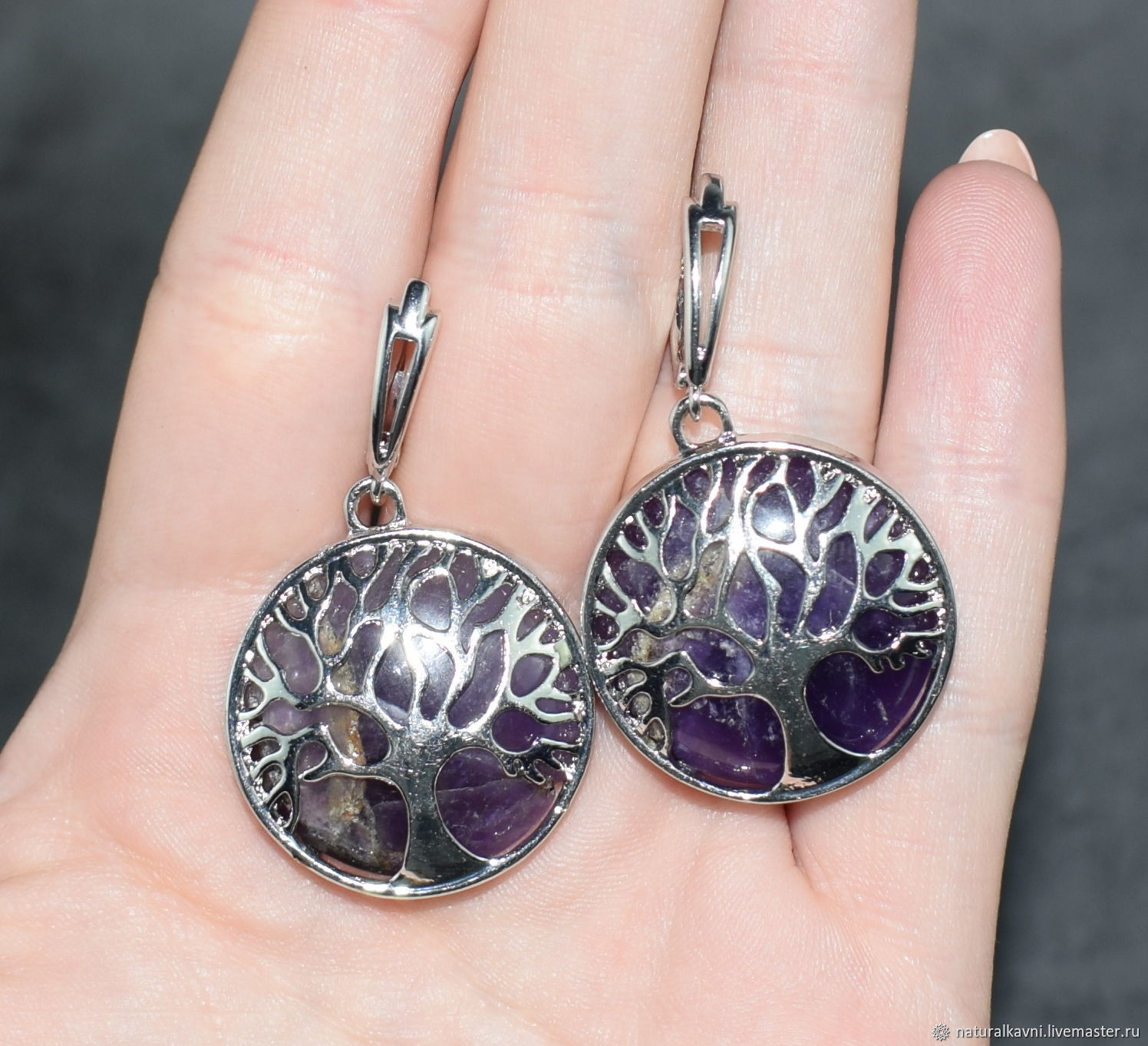 Earrings 'tree of happiness' from lavender amethyst, Earrings, Moscow,  Фото №1