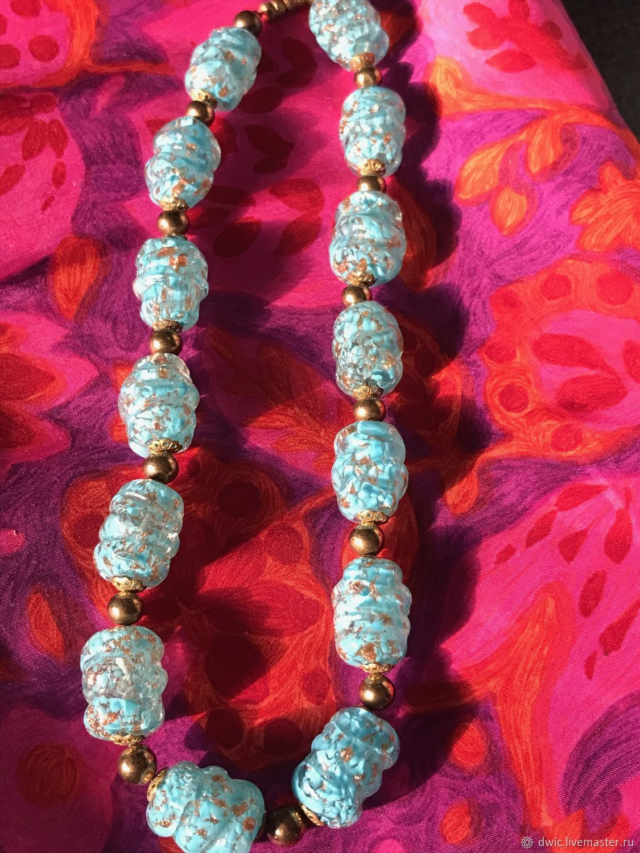 Blue sky beads, handmade, Czechoslovakia, Vintage necklace, Arnhem,  Фото №1