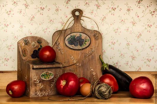 """Кухня ручной работы. Ярмарка Мастеров - ручная работа. Купить Доска разделочная и короб для соли.Комплект для кухни """"Уютная утварь"""". Handmade."""
