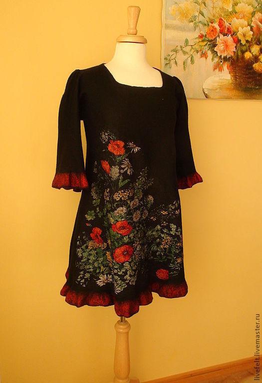 """Платья ручной работы. Ярмарка Мастеров - ручная работа. Купить """" Маки в саду"""" Валяное платье 2 в 1 трапеция. Handmade."""