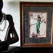 Картины и панно ручной работы. Ярмарка Мастеров - ручная работа Вышитая картина, ручная вышивка,танец,женщина. Handmade.