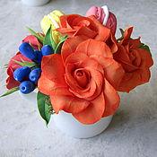 Цветы и флористика ручной работы. Ярмарка Мастеров - ручная работа Мини букет с макарунами. Handmade.