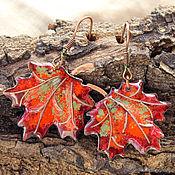 """Украшения ручной работы. Ярмарка Мастеров - ручная работа Серьги """"Кленовые листья"""" красные горячая эмаль. Handmade."""