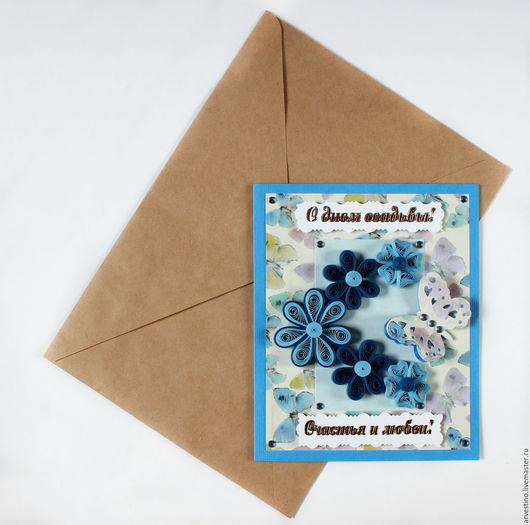 Подарки на свадьбу ручной работы. Ярмарка Мастеров - ручная работа. Купить Счастья и любви! Свадебная открытка в технике квиллинг.. Handmade.