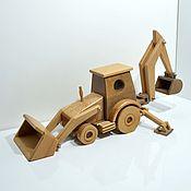 Техника, роботы, транспорт ручной работы. Ярмарка Мастеров - ручная работа Деревянные игрушки. Экскаватор-погрузчик. Handmade.
