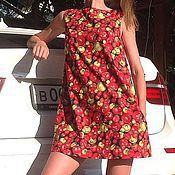 """Одежда ручной работы. Ярмарка Мастеров - ручная работа Мини-платье трапеция """"помидоры"""". Handmade."""