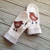 Аксессуары handmade. Livemaster - original item Birds felted mittens mittens made of wool. Handmade.