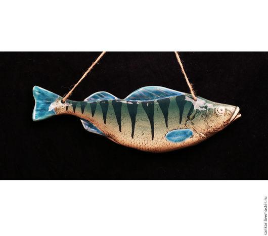 Элементы интерьера ручной работы. Ярмарка Мастеров - ручная работа. Купить Керамическая рыба  Окунь. Handmade. Бирюзовый, рыба, глина
