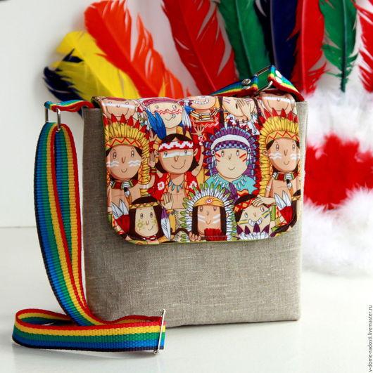 Детская сумочка, сумочка для мальчика, сумочка для прогулок, маленькая сумочка, подарок сыну, индейцы. Мастер Сечкина Юлия http://www.livemaster.ru/v-dome-radosti