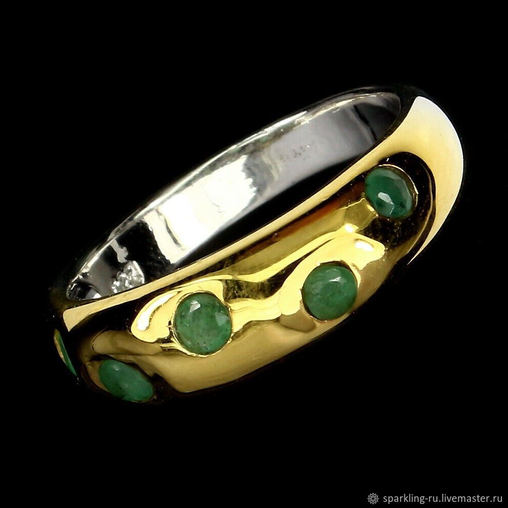 Silver ring with emerald, size 18, Rings, Moscow,  Фото №1