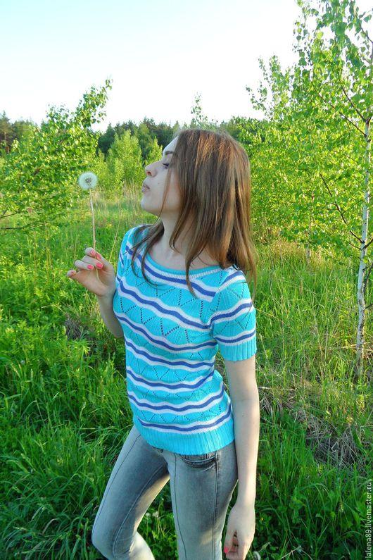 """Блузки ручной работы. Ярмарка Мастеров - ручная работа. Купить Яркое лето """"Волны"""" в голубом цвете. Handmade. В полоску"""