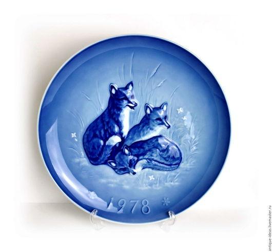 Винтажные предметы интерьера. Ярмарка Мастеров - ручная работа. Купить Большая декоративная тарелка, Германия. Handmade. Тёмно-синий
