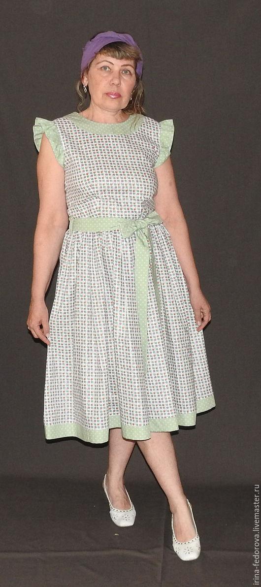 Платья ручной работы. Ярмарка Мастеров - ручная работа. Купить Платье из хлопка П-126. Handmade. Комбинированный, Платье в цветочек