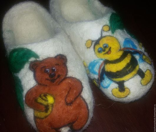 Детская обувь ручной работы. Ярмарка Мастеров - ручная работа. Купить тапочки домашние детские. Handmade. Белый, шерсть 100%