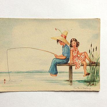 Винтаж ручной работы. Ярмарка Мастеров - ручная работа Германия открытка дети  50-е годы. Handmade.