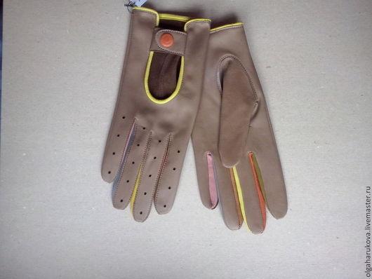 Варежки, митенки, перчатки ручной работы. Ярмарка Мастеров - ручная работа. Купить автомобильные перчатки. Handmade. Бежевый, кожа натуральная