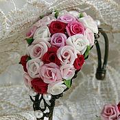Украшения handmade. Livemaster - original item Pearl bracelet ,bracelet roses.Red,white,pink.Polymer clay.. Handmade.
