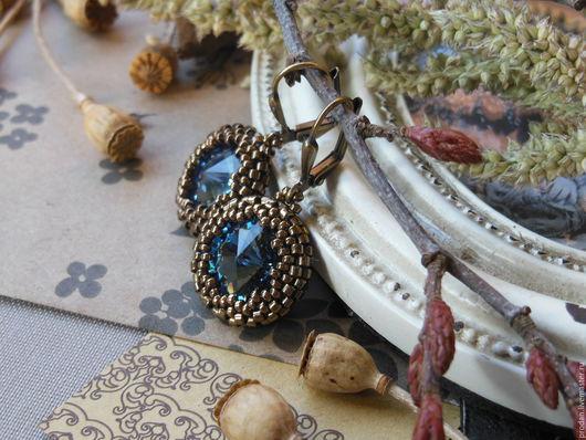 """Серьги ручной работы. Ярмарка Мастеров - ручная работа. Купить Серьги """"Denim Blue"""". Handmade. Серьги, тёмно-синий"""