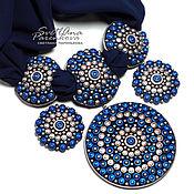 Украшения handmade. Livemaster - original item set of polymer clay filigree shades of blue (254). Handmade.