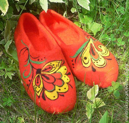 """Обувь ручной работы. Ярмарка Мастеров - ручная работа. Купить Валяные тапочки """"Мотивы Хохломы 2"""". Handmade. Ярко-красный"""
