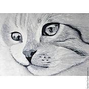 Картины и панно ручной работы. Ярмарка Мастеров - ручная работа Кошачьи грёзы (30 х 40 см). Handmade.