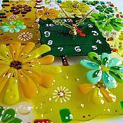 Для дома и интерьера ручной работы. Ярмарка Мастеров - ручная работа часы из стекла, фьюзинг  Деревенский колорит. Handmade.