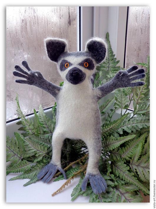 Кукольный театр ручной работы. Ярмарка Мастеров - ручная работа. Купить Лемур кольцехвостый - перчаточная кукла, войлок. Handmade. Серый