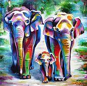 Картины и панно handmade. Livemaster - original item Elephans Landscape oil painting on canvas Tropical animal painting. Handmade.