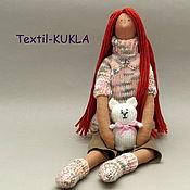 Куклы и игрушки handmade. Livemaster - original item Red doll Tilda and her knitted cat. Handmade.